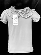 блузка ЛЮТИК модель 10103 к/р трикотажная, серая (р.122,128,134,140,146)