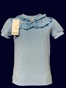 блузка ЛЮТИК модель 10103 к/р трикотажная, голубая (р.122,128,134,140,146)
