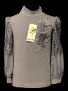 блузка ЛЮТИК модель 10114 д/р трикотажная, серая (р.122,128,134,140,146)