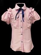 блузка для девочки БАНТИК длин.рук. розовая в горошек (р.36-42)