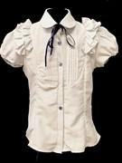 блузка для девочки БАНТИК кор.рук. белая в горошек (р.36-40)