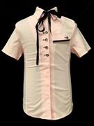 блузка для девочки ЛЕНТА НА ВОРОТЕ длин.рук. розовая (р.34-42) в уп. 5 шт.