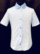 блузка ЛЮТИК модель 20188 кор.рукав,голубой (рост128,134,140,146,152)