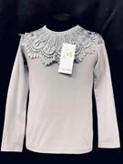блузка ЛЮТИК модель 10107 д/р трикотажная, серая (р.122,128,134,140,146)