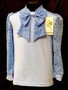 блузка ЛЮТИК модель 10110 д/р трикотажная, голубая (р.122,128,134,140,146)
