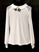 блузка для девочки  длин.рук. белая (р.36-42)