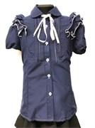 блузка для девочки БАНТИК кор.рук. синяя в горошек (р.36-40)