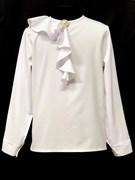 AGATKA блузка дл.рук. брошь на вороте, белая (р.128-158) 6 шт.