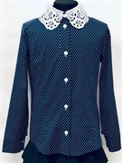 блузка ЛЮТИК модель 20182 длин.рукав, синяя (рост128,134,140,146,152)