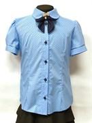 блузка ЛЮТИК модель 20166 кор.рук. в гороршек, голубая (рост128,134,140,146,152)