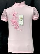 блузка ЛЮТИК модель 10114 к/р трикотажная, розовая (р.122,128,134,140,146)