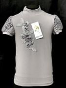 блузка ЛЮТИК модель 10114 к/р трикотажная, серая (р.122,128,134,140,146)