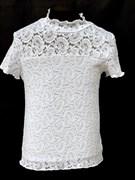 Zibi водолазка гипюровая короткий рукав, белая, огурцы (размер 134)