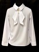 AGATKA блузка длин.рук. съёмный галстук, белая (р.128-158) 6 шт.
