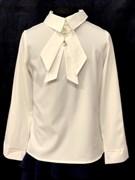 AGATKA блузка длин.рук. съёмный галстук, крем. (р.128-158) 6 шт.