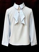 AGATKA блузка длин.рук. съёмный галстук, голубой. (р.128-158) 6 шт.