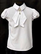 AGATKA блузка кр.рук. съёмный галстук, белая (р.128-158) 6 шт.