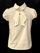 AGATKA блузка кр.рук. съёмный галстук, крем. (р.128-158) 6 шт.