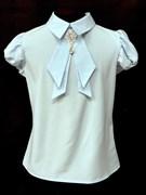 AGATKA блузка кр.рук. съёмный галстук, голубой (р.128-158) 6 шт.