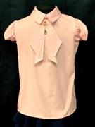 AGATKA блузка кроткий рукав, съёмный галстук, розовый (р.128-158) 6 шт.