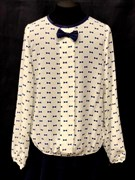 SLY блузка дл.рук. кремовая (бантики)(р.128-170)
