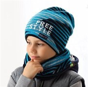 .AJS комплект 38-600 шапка двойная вязка + снуд (р.52-54)