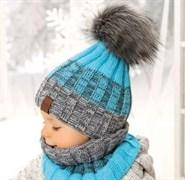 .AJS комплект 38-446  шапка двойная вязка + снуд (р.50-52)