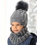 .AJS комплект 38-474 шапка двойная вязка + снуд (р.50-52)