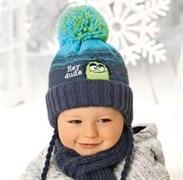 .AJS комплект 38-445 шапка подкл.флис+шарф (р.44-48)