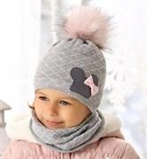 .AJS комплект 38-459 шапка двойная вязка + снуд (р.50-52)