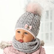 .AJS комплект 38-436 шапка двойная вязка + снуд (р.46-48)