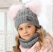 .AJS комплект 38-505 шапка подкл.флис + снуд (р.52-54)