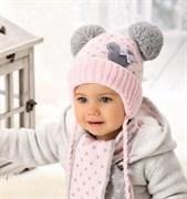 .AJS комплект 38-404 шапка подкл.флис + шарф (р.40-42)