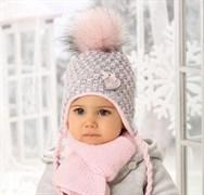 .AJS комплект 38-403 шапка подкл.флис + шарф (р.40-42)