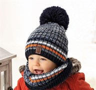.AJS комплект 38-439 шапка двойная вязка + снуд (р.48-50)