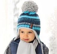 .AJS комплект 38-473 шапка  вязка подклад флис+ шарф (р.50-52)