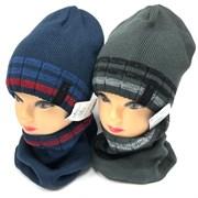 AGBO комплект 2504 Edward  шапка вязка на флис. подкл.+ снуд (р.52-54)