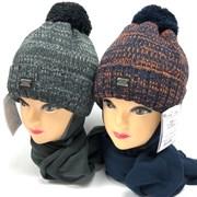 AGBO комплект 2417 Grawer 4 шапка с утеплит.подкл.хлопок+шарф (р.50-52)