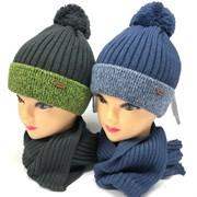 Grans комплект A 1006 DS шапка на х/б подкл.+шарф (р.52-54)