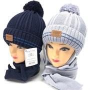 AGBO комплект 2427 Anders1 шапка с утеплит.подкл.хлопок+шарф (р.50-52)