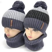 AGBO комплект 2330 Polo  шапка вязка на флис. подкл.+ снуд (р.48-50)