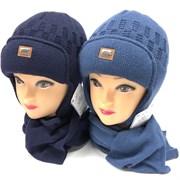 AGBO комплект 2468 Jerry  шапка с утеплит.подкл.хлопок+шарф(р.52-54)