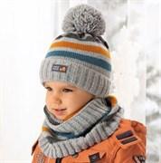 .AJS комплект 38-488 шапка подкл.флис+снуд (р.50-52)