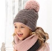 .AJS комплект 38-494 шапка подкл.флис+снуд (р.52-54)