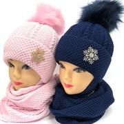 LVG комплект Снежинка шапка с утеплителем + снуд (р.52-54)
