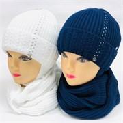 LVG комплект Стразы шапка с утеплителем + снуд (р.46-48)
