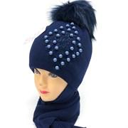 LVG комплект Ромб шапка с утеплителем + шарф (р.50-52)