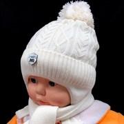 МегаШапка модель 5759 шапка с утеплителем+шарф (р.42-44)кремовый