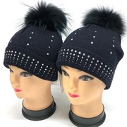Barbaras модель R 53/XC шапка подкл.хлопок, натур.помпон (р.52-54)