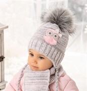 .AJS комплект 38-412 шапка подкл.флис + шарф (р.40-42)